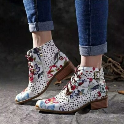 Block-heel Lace-up Colorful Martin Boots Nihaostyles Clothing Wholesale NSYUS82637