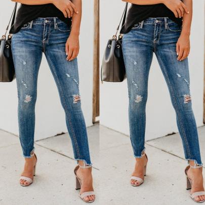 Autumn Ripped Slim Raw Edge Jeans Nihaostyles Wholesale Clothing NSJRM82055