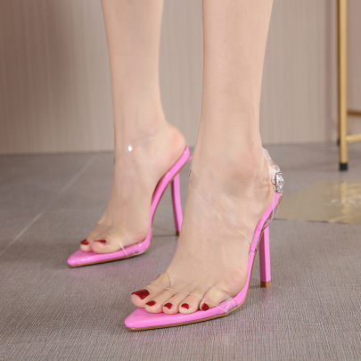 Pointed Toe Transparent Stilettos Sandals Nihaostyles Wholesale Clothing NSSO82270