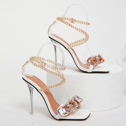 Square Toe Rhinestone Metal Chain Stiletto Sandals Nihaostyles Wholesale Clothing NSSO82271