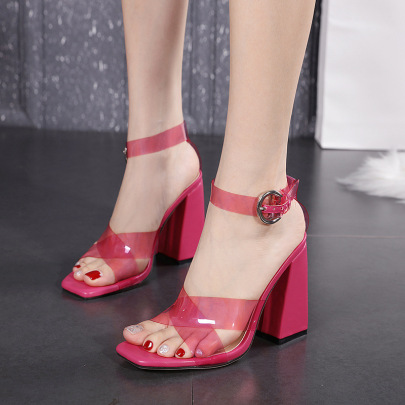 Square Toe Thick High Heel Buckled Sandals Nihaostyles Wholesale Clothing NSSO82279