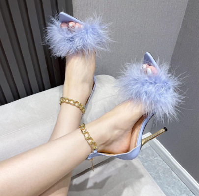 Pointed Toe With Feather Chain Stiletto Sandals Nihaostyles Wholesale Clothing NSSO82280