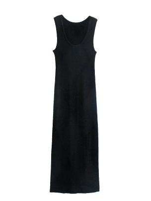 Sleeveless Round Neck Slim Knitted Dress Nihaostyles Wholesale Clothing NSAM82299