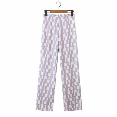 Autumn Plaid Print Casual Straight Pants Nihaostyles Wholesale Clothing NSAM82301