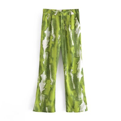 Autumn Green Print Straight Casual Pants Nihaostyles Wholesale Clothing NSAM82315