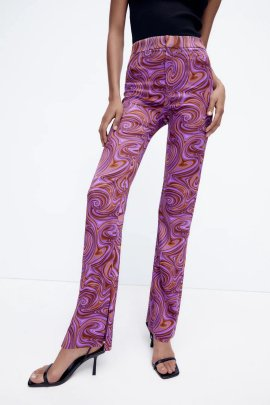 Print Flared Split Casual Pants Nihaostyles Wholesale Clothing NSAM82326