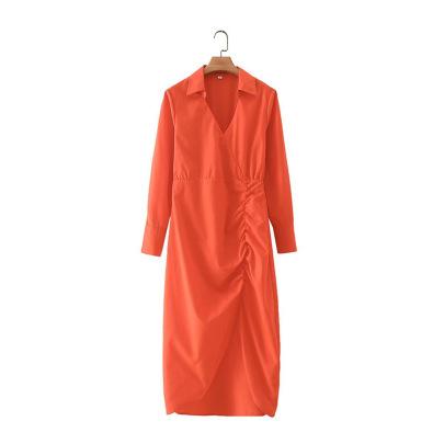 Orange V-neck Pleated Slit Dress Nihaostyles Clothing Wholesale NSAM82356
