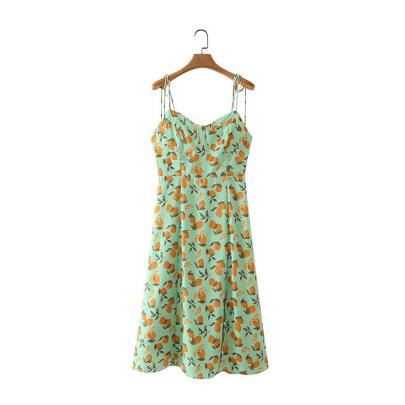Lemon Print Lace Sling Front Slit Midi Dress Nihaostyles Clothing Wholesale NSAM82362