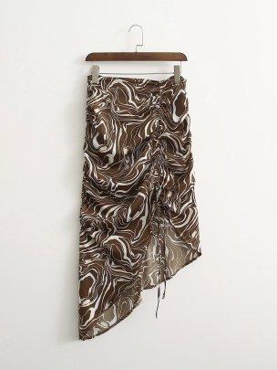 Drawstring Print Irregular Skirt Nihaostyles Clothing Wholesale NSAM82427