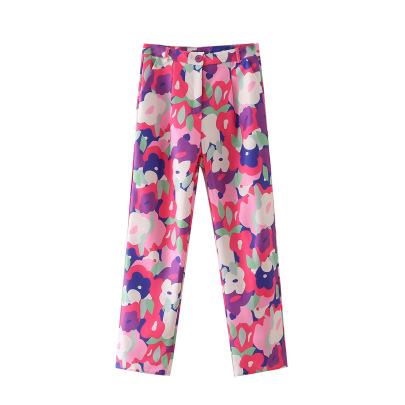 Autumn Floral Print Slim Pants Nihaostyles Wholesale Clothing NSAM82556