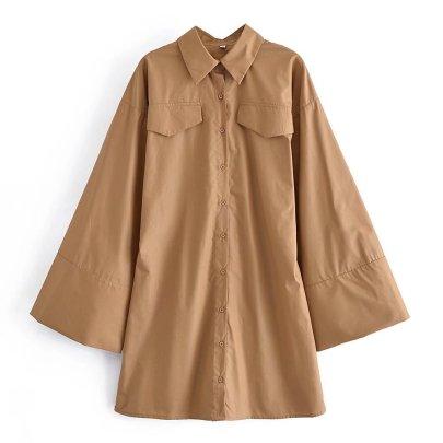 Profile Slim Fit Flared Sleeve Shirt Dress Nihaostyles Wholesale Clothing NSAM82566