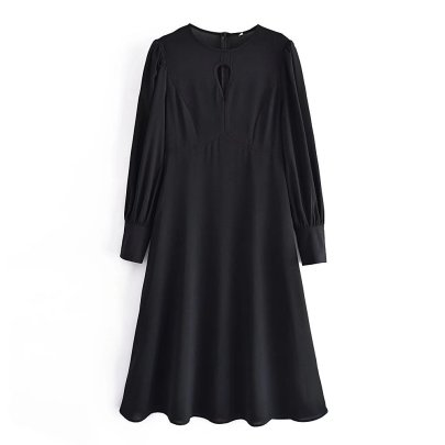 Round Neck Hollow Slim Dress Nihaostyles Wholesale Clothing NSAM82567