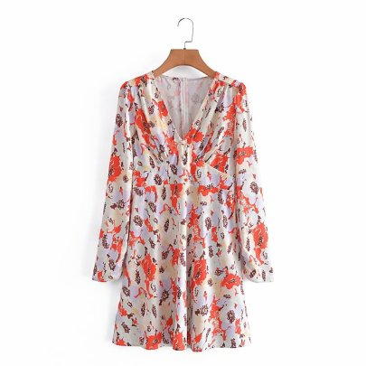 Early Autumn Slim V-neck Floral Dress Nihaostyles Wholesale Clothing NSAM82574