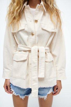 Autumn With Belt Corduroy Blouse Jacket Nihaostyles Wholesale Clothing NSAM82575