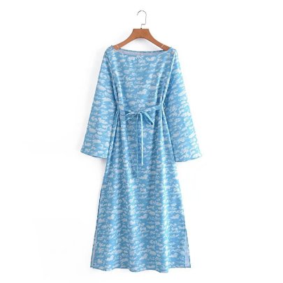 Clouds Printing Lace-up Splits Dress Nihaostyles Wholesale Clothing NSAM82580