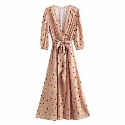 Retro V-neck Slim Satin  With Belt Polka Dot Print Dress Nihaostyles Wholesale Clothing NSAM82581