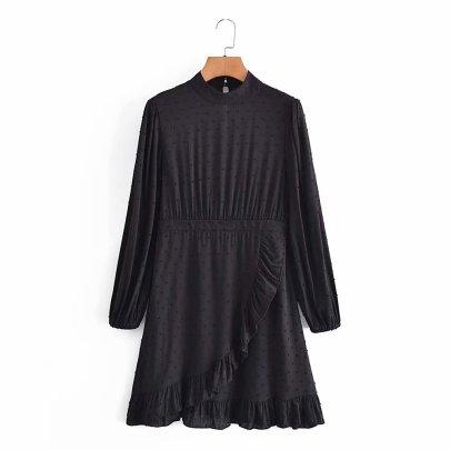 Jacquard Ruffle Long-sleeved Dress Nihaostyles Wholesale Clothing NSAM82585