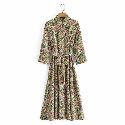Lapel Slim Print Lace-up Belted With Splits On Both Sides Dress Nihaostyles Wholesale Clothing NSAM82586