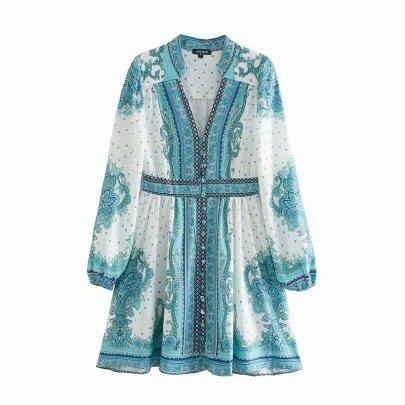 Palace Style Retro Totem Flower Lantern Sleeve Dress Nihaostyles Clothing Wholesale NSAM82603