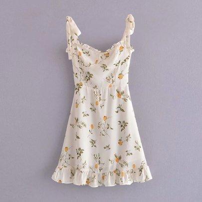 Summer Lemon Print Ruffled Sling Dress Nihaostyles Wholesale Clothing NSAM82486