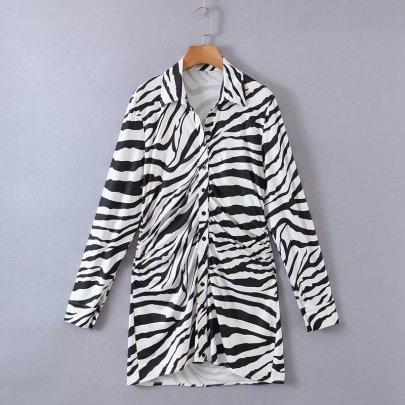 Autumn Zebra Print Pleated Knitted Shirt Dress Nihaostyles Wholesale Clothing NSAM82294
