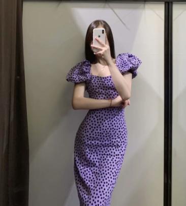 Autumn Square Collar Retro Polka Dot Midi Dress Nihaostyles Wholesale Clothing NSAM82484