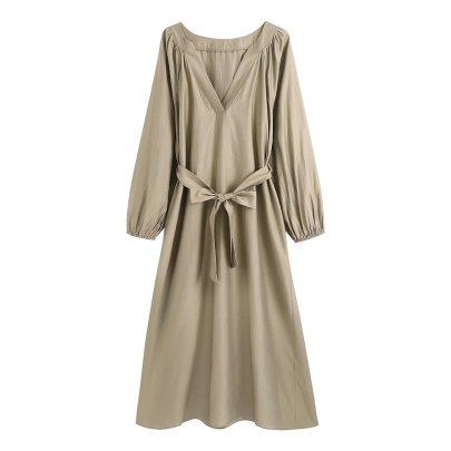 Autumn V Neck Dress With Belt Nihaostyles Wholesale Clothing NSAM82551