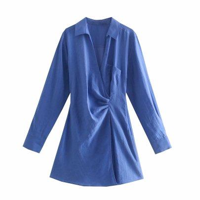 Autumn V Neck  Shirtdress Nihaostyles Wholesale Clothing NSAM82452