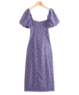 Polka Dot Printing Slim Slit Midi Dress Nihaostyles Clothing Wholesale NSAM82616