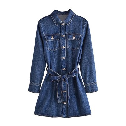 Autumn Mini Slim Belted Denim Dress Nihaostyles Wholesale Clothing NSAM82458