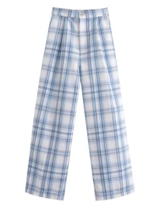 Checkered Pattern Straight-leg Pants Nihaostyles Clothing Wholesale NSAM82421