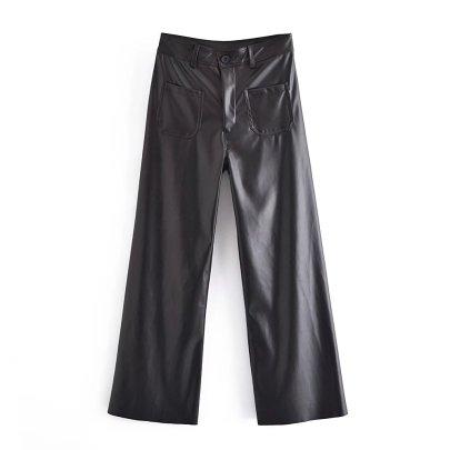 Navy Style Imitation Leather Straight Leg Leather Pants Nihaostyles Clothing Wholesale NSAM82406