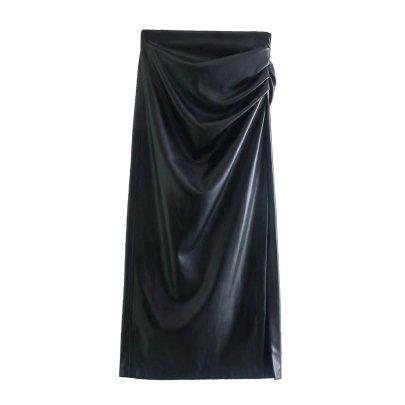 Autumn Imitation Leather Straight Skirt Package Hip Half-length Skirt Nihaostyles Wholesale Clothing NSAM82456
