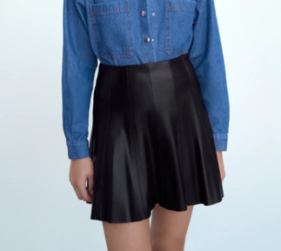Imitation Leather Pleated Skirt Nihaostyles Clothing Wholesale NSAM82393