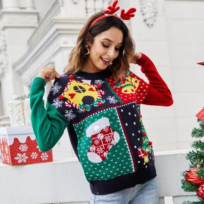 Small Snowflake Christmas Tree Print Sweater Nihaostyles Wholesale Christmas Costumes NSYH82645