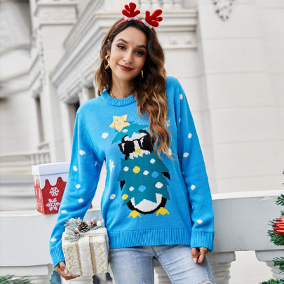 Round Neck Long-sleeved Sequined Pullover Animal Sweater Nihaostyles Wholesale Christmas Costumes NSYH82646