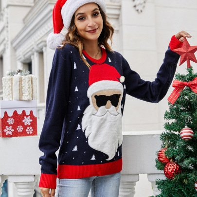 Santa Claus Printed Round Neck Pullover Loose Sweater Nihaostyles Wholesale Christmas Costumes NSYH82647