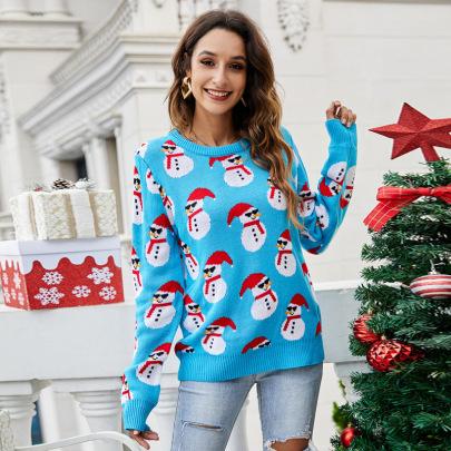 Turtleneck Long Sleeve Cute Snowman Christmas Sweater Nihaostyles Wholesale Christmas Costumes NSYH82648