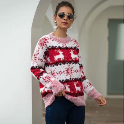 Round Neck Snowflake And Deer Jacquard Pullover Sweater Nihaostyles Wholesale Christmas Costumes NSMMY82661
