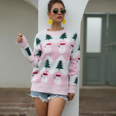 Autumn And Winter Christmas Tree Snowman Jacquard Sweater Nihaostyles Wholesale Christmas Costumes NSMMY82663