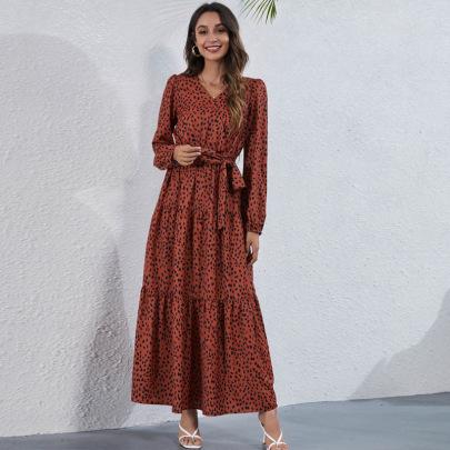 V-neck Printed Dress Nihaostyles Clothing Wholesale NSGNX82789