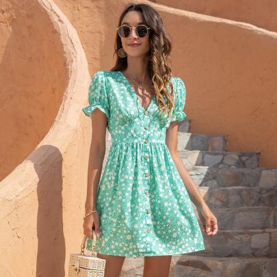 V-Neck Printed Puff Sleeve Dress Nihaostyles Clothing Wholesale NSGNX82792