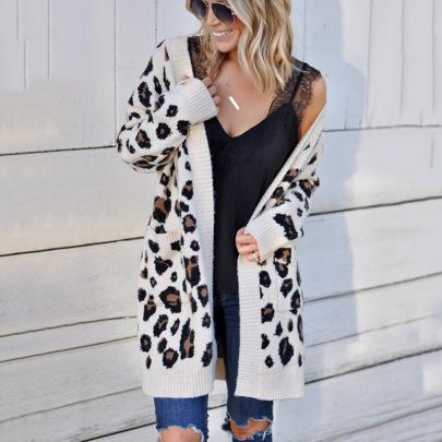 Women's Leopard Sweater Cardigan Nihaostyles Wholesale Clothing NSMMY82826