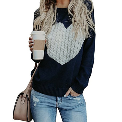 Women's Love Print  Knitted Sweater Nihaostyles Wholesale Clothing NSMMY82827