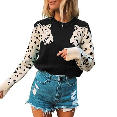 Casual Leopard Head Color-blocking Sweater Nihaostyles Wholesale Clothing NSMMY82829