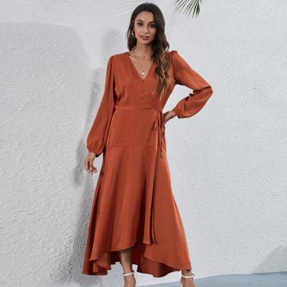 V-neck Strap Irregular Dress Nihaostyles Clothing Wholesale NSGNX82834