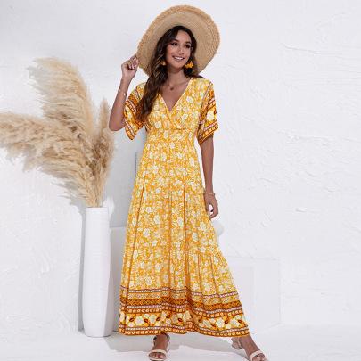 V-neck Printed Short Sleeve Dress Nihaostyles Clothing Wholesale NSGNX82836
