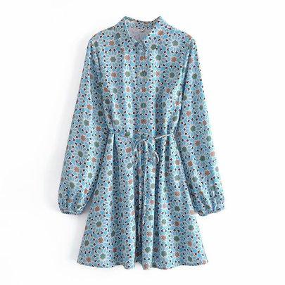 Lapel Satin Lace-up Dress Nihaostyles Wholesale Clothing NSAM82845