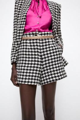 Autumn Houndstooth Shorts Nihaostyles Wholesale Clothing NSAM82848