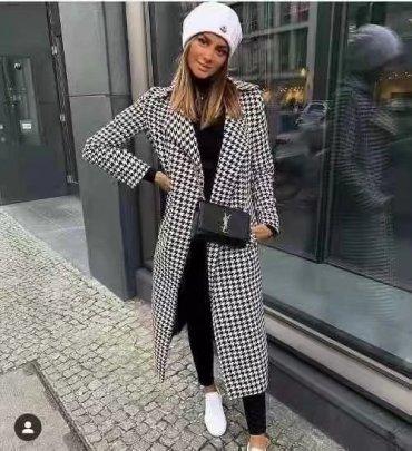 Tweed Houndstooth Overcoat Nihaostyles Wholesale Clothing NSAM82861